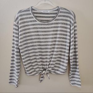 Caution to the Wind Striped Tie Front Long Sleeve